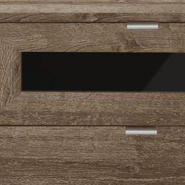 Nachttisch Surano mit aufgeklebter Glasplatte in Schwarz