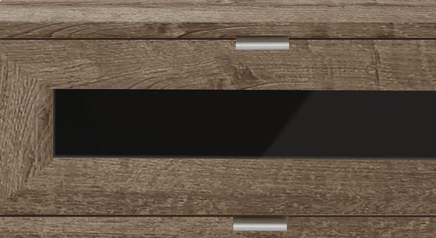 Schubladen-Nachttisch Surano mit schwarzem Glaseinsatz