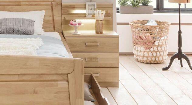 Massivholz-Nachttisch Temara mit Paneel