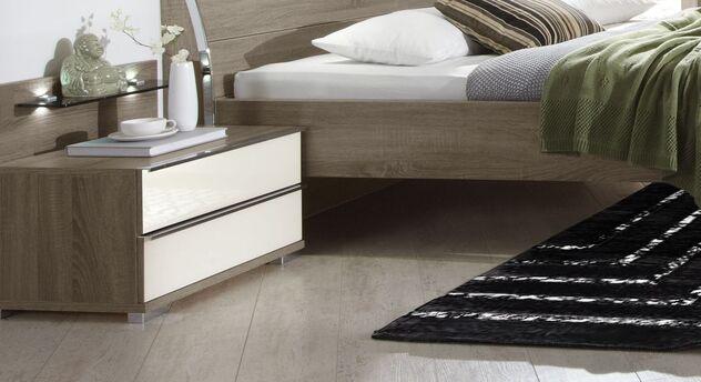 Nachttisch Tiko mit Schubladen und Wandpaneel