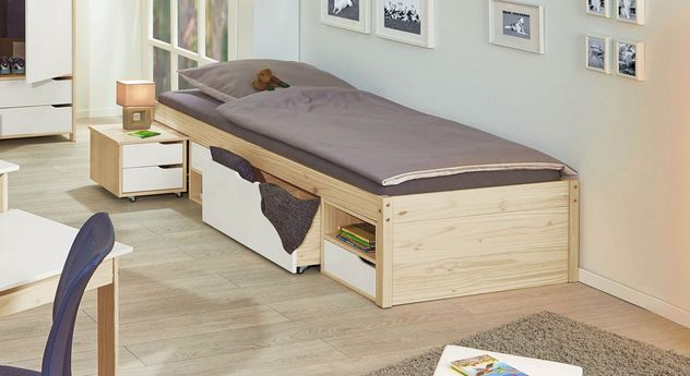 jugendbett mit schubkasten inklusive nachttisch aus kiefer. Black Bedroom Furniture Sets. Home Design Ideas