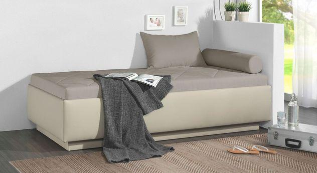 Relaxliege Eriko aus beigem Kunstleder und graubeigem Microvelours