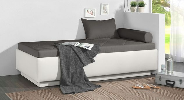 Relaxliege Eriko aus weißem Kunstleder und dunkelgrauem Microvelours