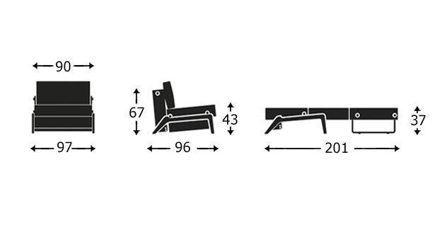 Grafik zum 90 cm breiten Schlafsofa Dowing