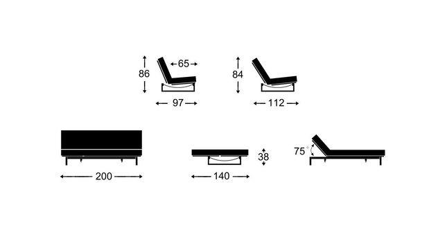 Bemaßungsgrafik zum 140 cm breiten Schlafsofa Frentano