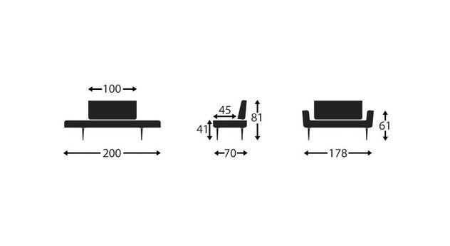 Übersicht der Maße vom Schlafsofa Lescott