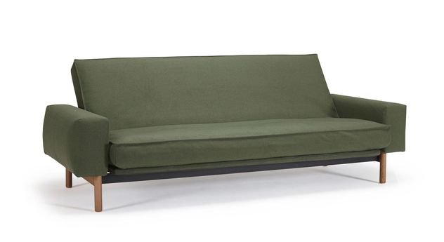 Schlafsofa Nereto mit Stoffbezug aus dunkelgrünem Twist