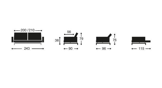 Übersicht der Maße von Schlafsofas mit Polsterarmlehnen