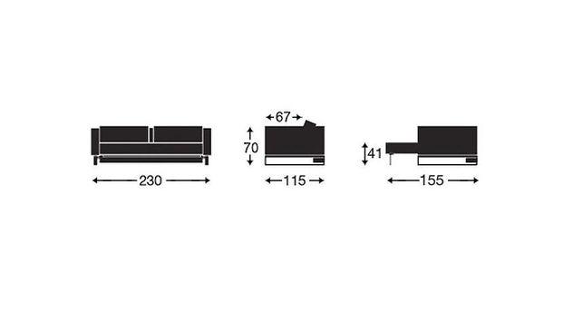 Grafik der Maße vom Schlafsofa Wilshere