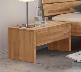 Schlichter Nachttisch Louvera aus Kernbuchenholz