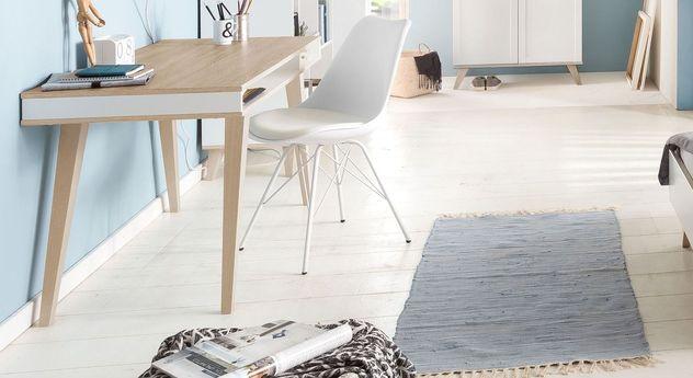 preiswerter retro schreibtisch in wei und holzoptik atina. Black Bedroom Furniture Sets. Home Design Ideas