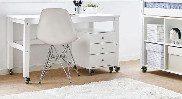 Moderner Rollbarer Schreibtisch Kids Heaven aus Holz in Weiß