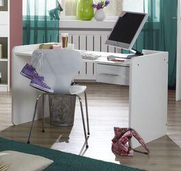 Schreibtisch Lajana höhenverstellbar in schlichtem Weiß