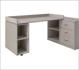 Schreibtisch Original drehbar von LIFETIME mit Leder-Schlaufen als Griffe