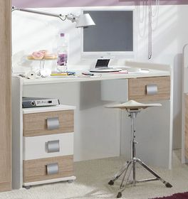 Schreibtisch Prea in alpinweißem Dekor