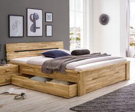 Schubkasten-Bett Sumak aus massivem Echtholz