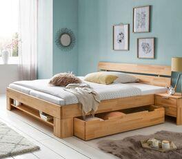 Schubkasten-Bett Valisia inklusive Blendenregal