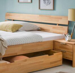 Schubkasten-Bett Valisia mit geteiltem Kopfteil