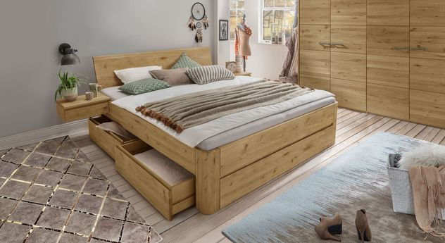 Schubkasten-Bett Wila metallfrei mit passenden Schlafzimmer-Möbeln
