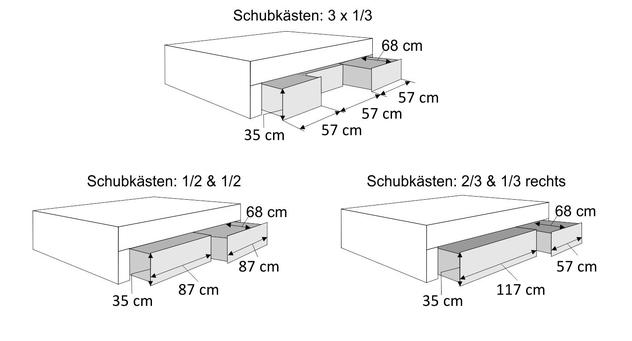 Bemaßungsskizze des Bettkasten von Doppelbetten