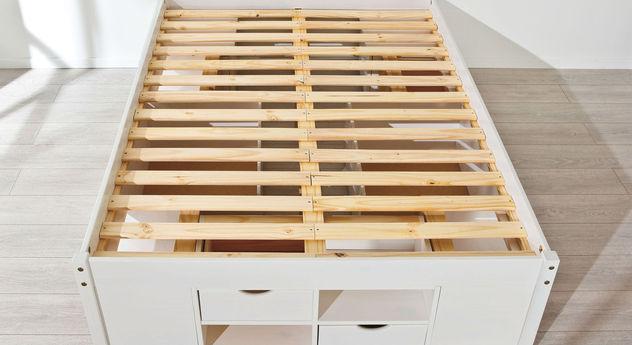 Schubkasten-Doppelbett Göteborg inklusive Auflageleiste mit Massivholz-Leisten