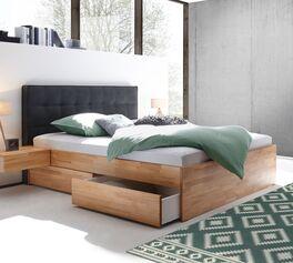 Schubkasten-Doppelbett Mirenda mit Stoff-Kopfteil