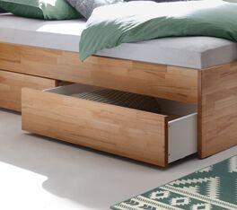 Schubkasten-Doppelbett Mirenda mit weißem Schubladen-Innenraum