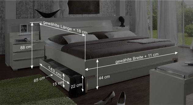 Bemaßungs-Skizze des Schubkasten-Doppelbettes Salford