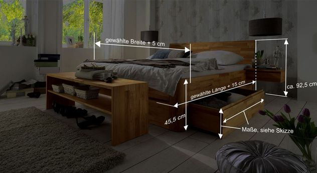 Bemaßungsskizze des Schubkasten-Doppelbett Zarbo