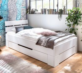 90x200 cm breites Einzelbett Ottena mit Schubkasten