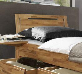 Schubkasten-Einzelbett Andalucia mit Zierfräsung am Kopfteil