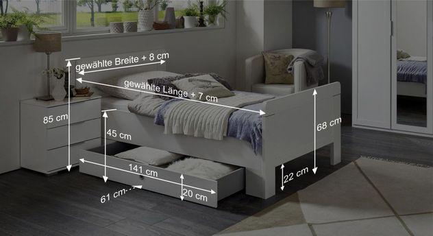 Bemaßungs-Bild zum Schubkasten-Einzelbett Aradeo