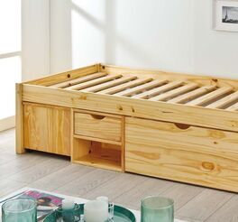 Schubkasten-Einzelbett Oslo mit Lattenrost aus Massivholzleisten