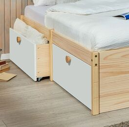 Schubkasten-Einzelbett Saffar mit weißen Schubladen