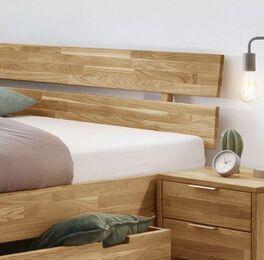 Schubkastenbett Kanata mit zweigeteiltem Kopfteil