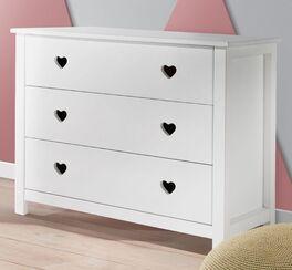 Weiße Schubladen-Kommode Asami mit Herzgriffmulden