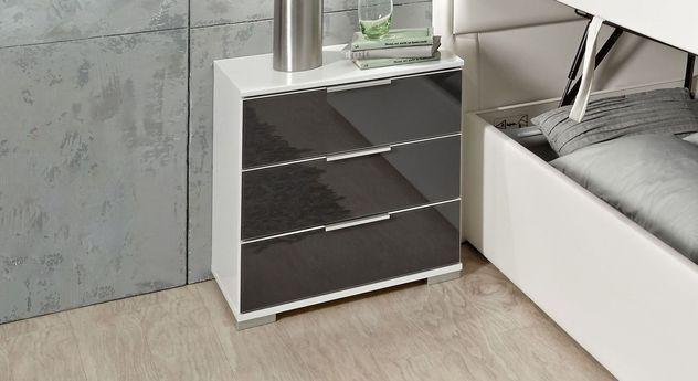 Schubladen-Nachttisch Belcastro mit moderner Glasfront