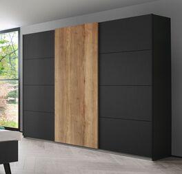 Schwebetüren-Kleiderschrank Azra mit anthrazitfarbenen Türen