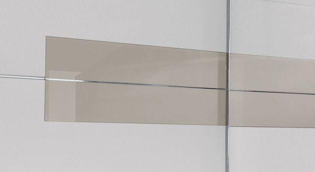 Trendiger Schwebetüren-Kleiderschrank Filetto mit proseccofarbenem Glaseinsatz