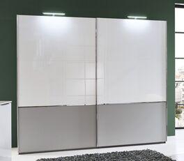 Schwebetüren-Kleiderschrank Florice in Weiß und Grau