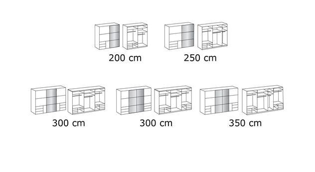 Grafik zum Schwebetüren-Kleiderschrank Neto in 236 cm Höhe