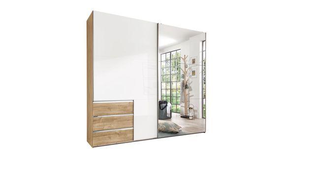 Schwebetüren-Kleiderschrank Neto in Plankeneiche mit Spiegelfront