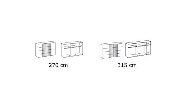Grafik zur Inneneinteilung vom Schwebetüren-Kleiderschrank Rovito