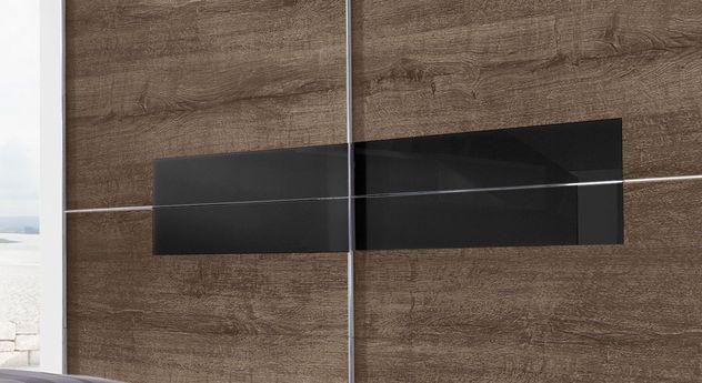 Moderner Schwebetüren-Kleiderschrank Surano mit schwarzem Glasmodul