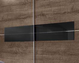 Schwebetüren-Kleiderschrank Surano mit schwarzem Glaseinsatz