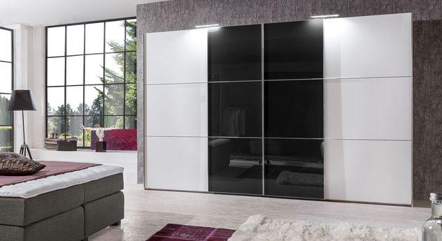 Schwebetüren-Kleiderschrank Taipana aus weißem und schwarzem Glas