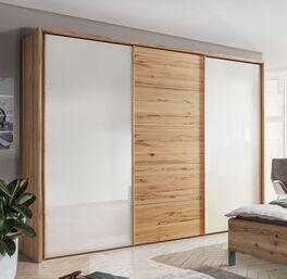 Schwebetüren-Kleiderschrank Leandra mit elegantem Holzrahmen