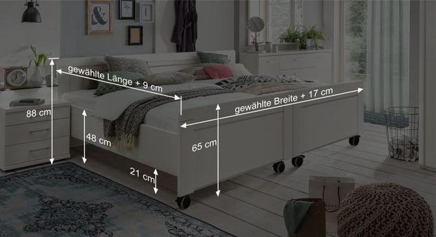 Bemaßungsgrafik zum Senioren-Doppelbett Calimera