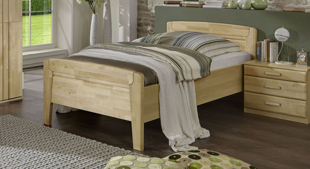 Seniorenbett Tonga mit Bettseiten aus Birke Dekor