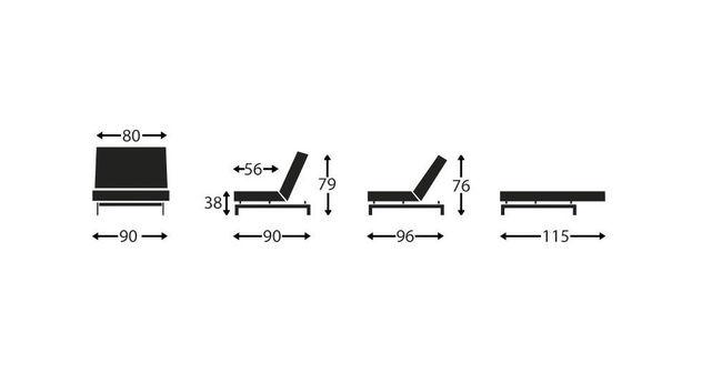 Grafik zu den Maßen vom Sessel Flash Light